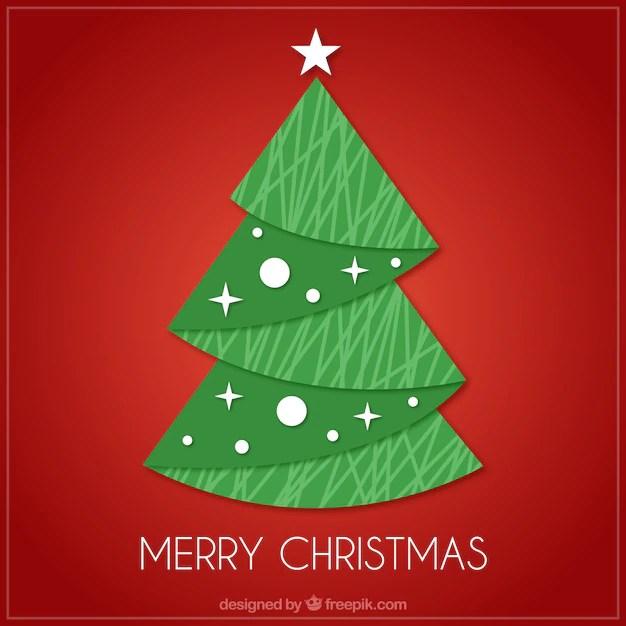 Tarjeta Roja De Rbol De Navidad En Diseo Plano