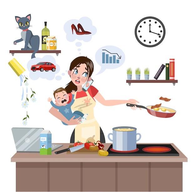 Ilustração de mulher sobrecarregada com afazeres domésticos, bebê e trabalho