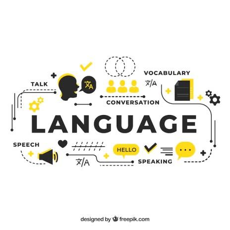 Conceito de linguagem com design plano Vetor grátis
