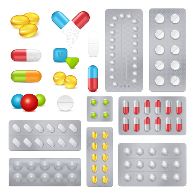 Ilustração de cartelas de remédios e medicamentos