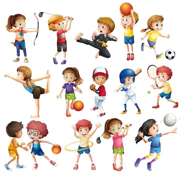 Crianas Jogando Vrios Esportes Em Branco Baixar Vetores Grtis