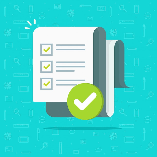 Formulário de pesquisa ou exame, longa folha de papel com lista de ...