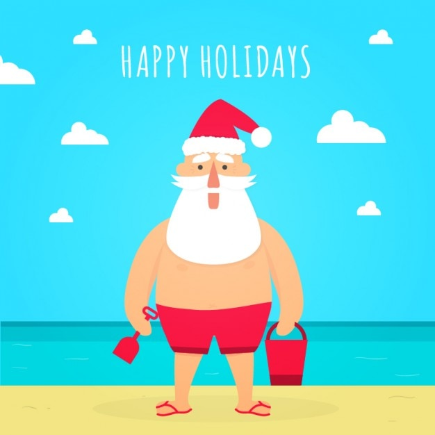 Papai Noel No Carto De Natal Praia Baixar Vetores Grtis