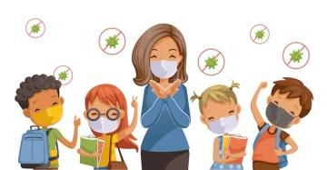 Voltar para a escola para o novo conceito normal. prevenção de doenças, covid-19. crianças usando máscaras sanitárias. gesto dos professores para. relacionado ao coronavírus. Vetor Premium