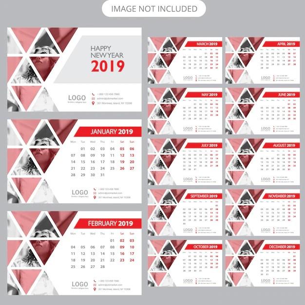 2019 Modello Di Calendario Da Tavolo Scaricare Vettori Premium