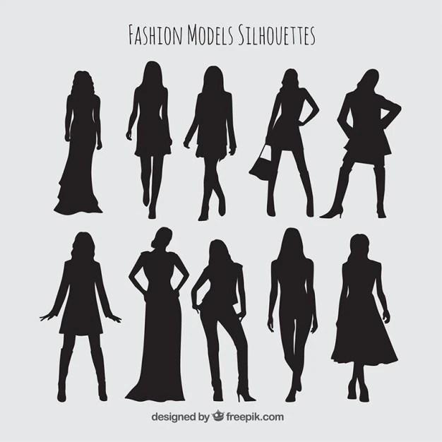 Sagome Di Raccolta Di Modelli Con Vestiti Alla Moda