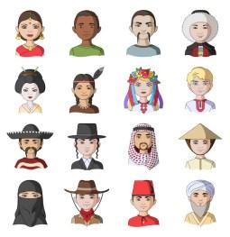 Premium Vector | Menselijk ras cartoon ingesteld pictogram. mensen avatar.  geïsoleerde cartoon ingesteld pictogram menselijk ras.
