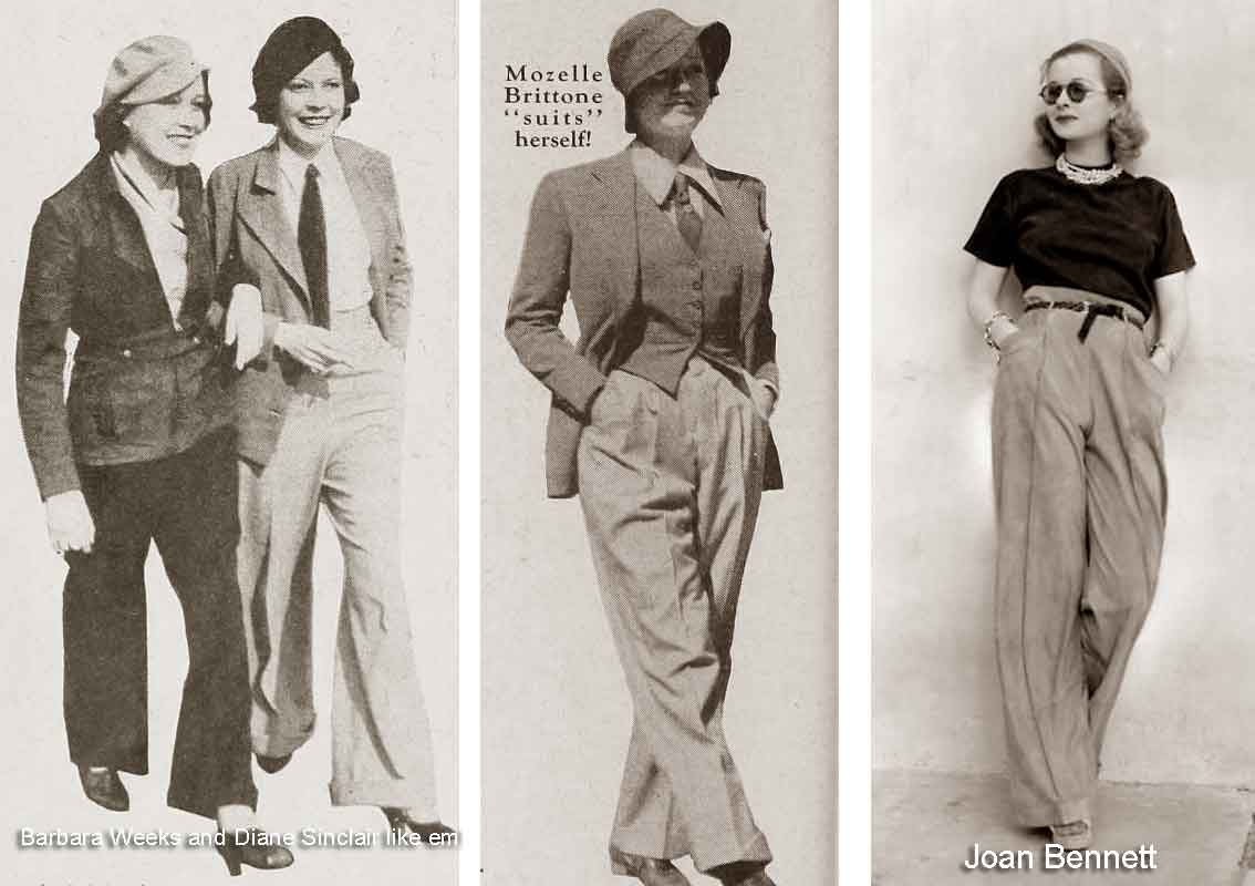 Image result for 1930s fashion women pants