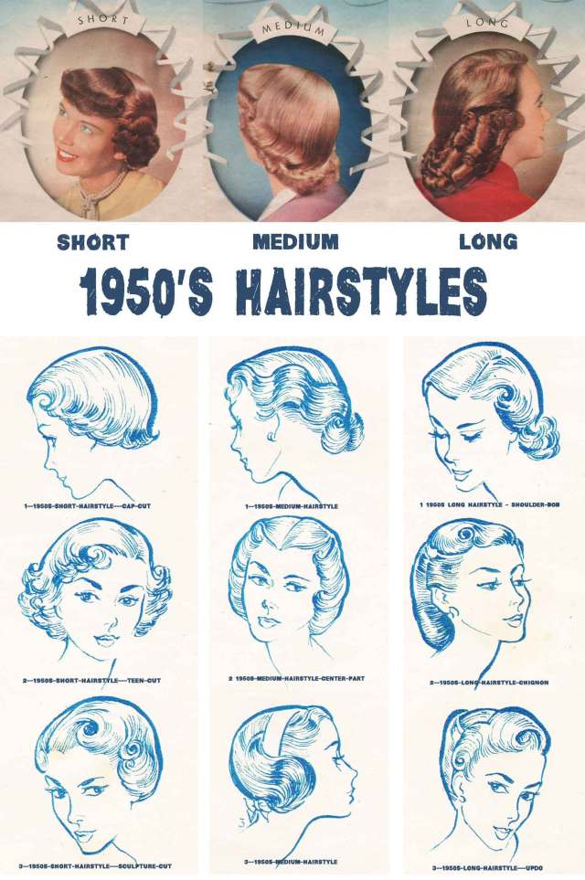 1950s hairstyles chart for your hair length | glamour daze