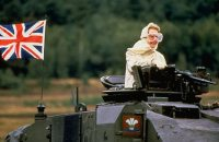 Margaret Thatcher - obviously a neo-nazi as she is hiding her mouth and carrying a gun