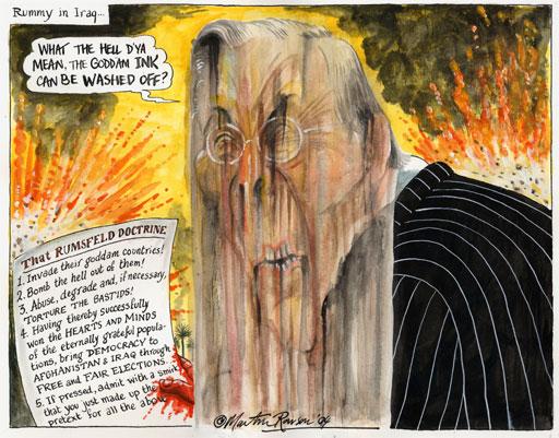 Rumsfeld on torture in Iraq, cartoon