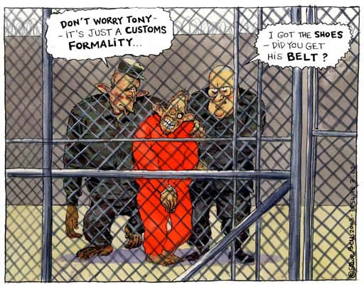 Blair in Guantanamo bay, cartoon by Steve Bell