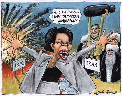 Condoleezza Rice and Iraq, Iran wars, cartoon by Martin Rowson