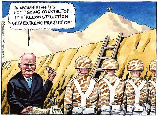 British soldiers in Afghanistan, Steve Bell cartoon