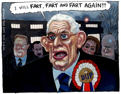 Ian Paisley, cartoon by Steve Bell
