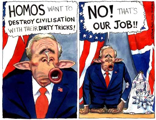 Steve Bell: Bush backs gay marriage ban
