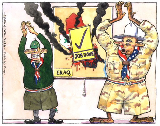 Bush, Blair, and Iraq war; cartoon by Steve Bell