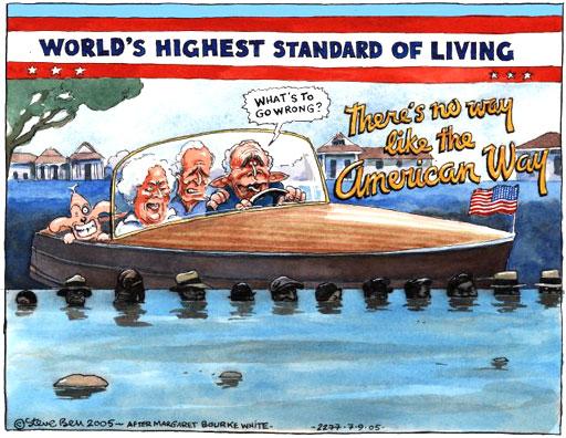 The Bush family and the Katrina disaster, cartoon by Steve Bell