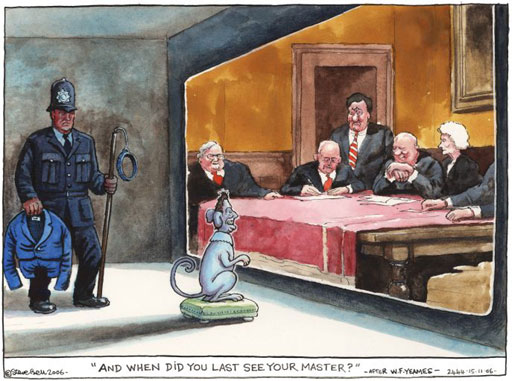 Cartoon by Steve Bell about Tony Blair before the Iraq Study Group