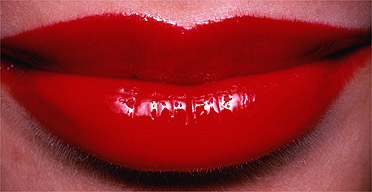 Classic red lips.