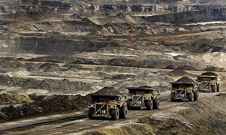 Trucks on the oil fields outside Alberta, Canada