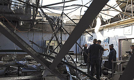 A Sderot chicken factory damaged by a Hamas rocket