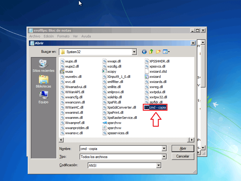 Pegar archivo CMD - Borrar clave en Windows 7