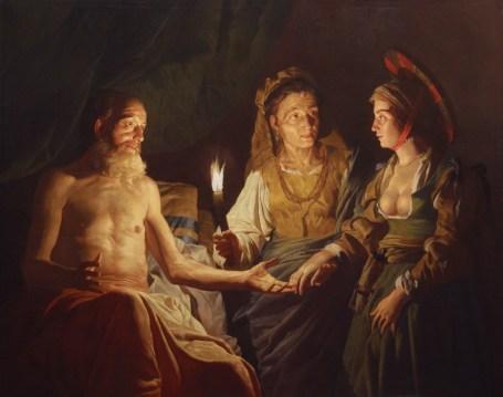 Putus asa untuk melahirkan anak sendiri, Sarah menyodorkan budaknya Hagar untuk dibuahi Ibrahim