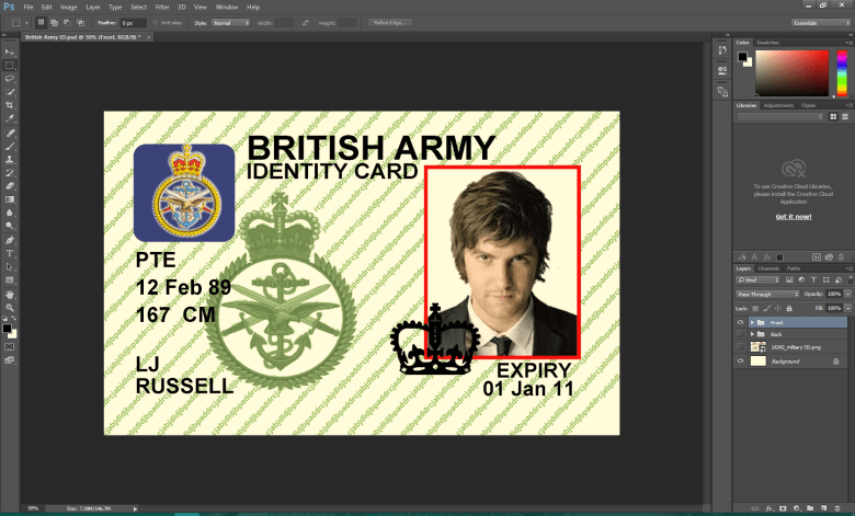 UK Military ID Card PSD Template