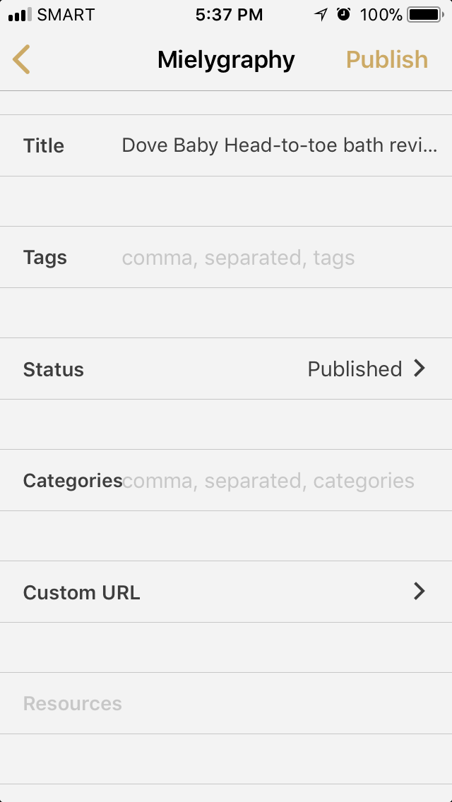 Wordpress options within the Byword App