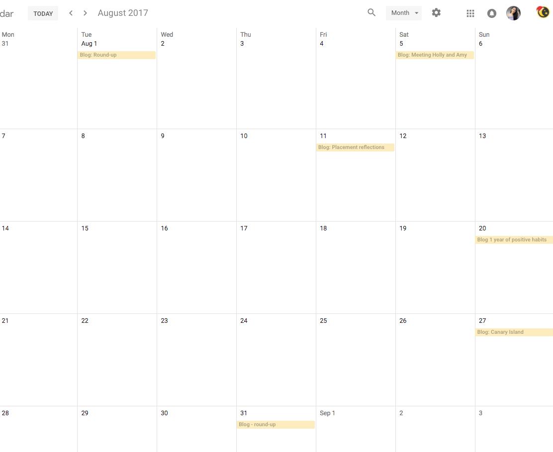 Blogging calendar of August 2017