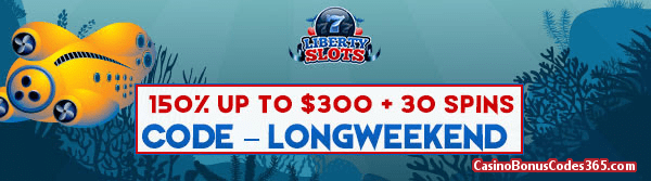 Liberty Slots 150% up to $150 Bonus plus 30 FREE 20000 Leagues Spins Special Offer