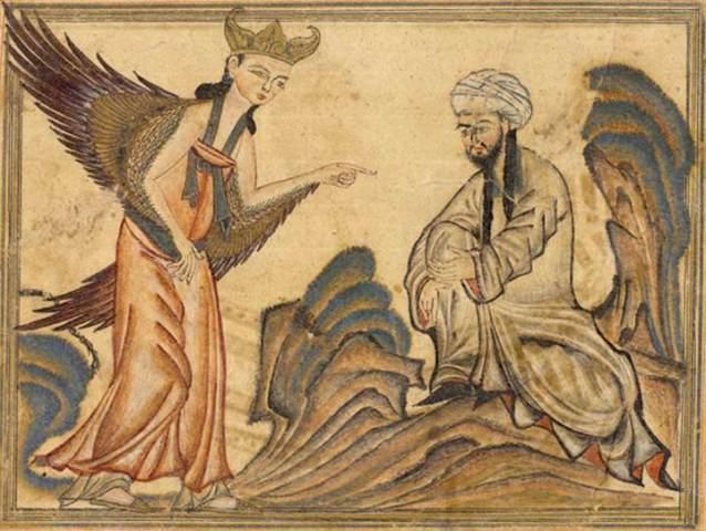 Nabi Muhammad menerima wahyu dari Jibril. Sebuah lukisan dari kitab Jami' al-tawarikh karya Rashid-al-Din Hamadani, 1307