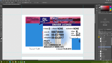 Connecticut Driving licence PSD Template