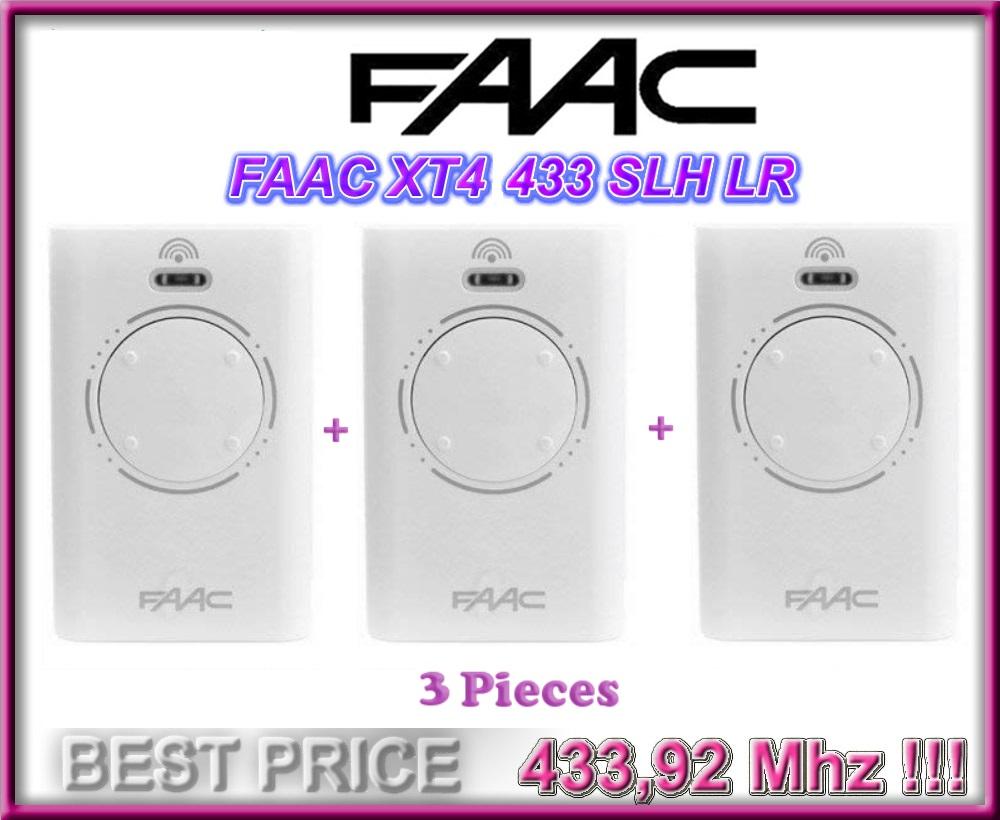 3 X Faac Xt4 433 Slh Lr Weiss Fernbedienungen 433 92mhz Rolling Code 3 Stucke Ebay