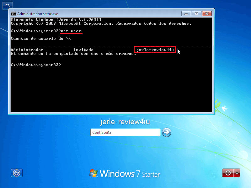 Net User en CMD - Borrar clave en Windows 7