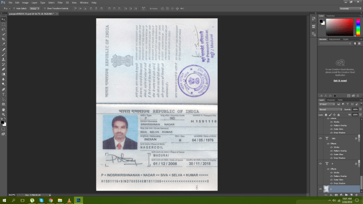Indian passport psd template