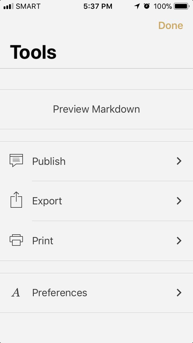 Publish option Byword App