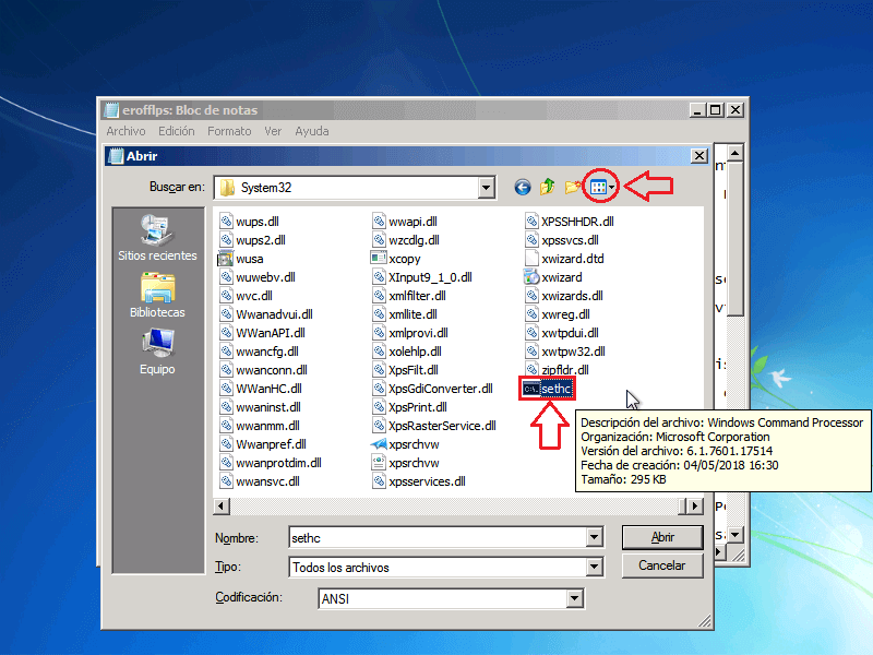 Renombrar archivo CMD a sethc - Borrar clave en Windows 7
