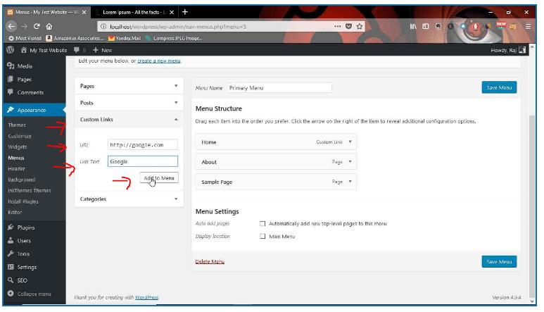 create wp menu using custom link
