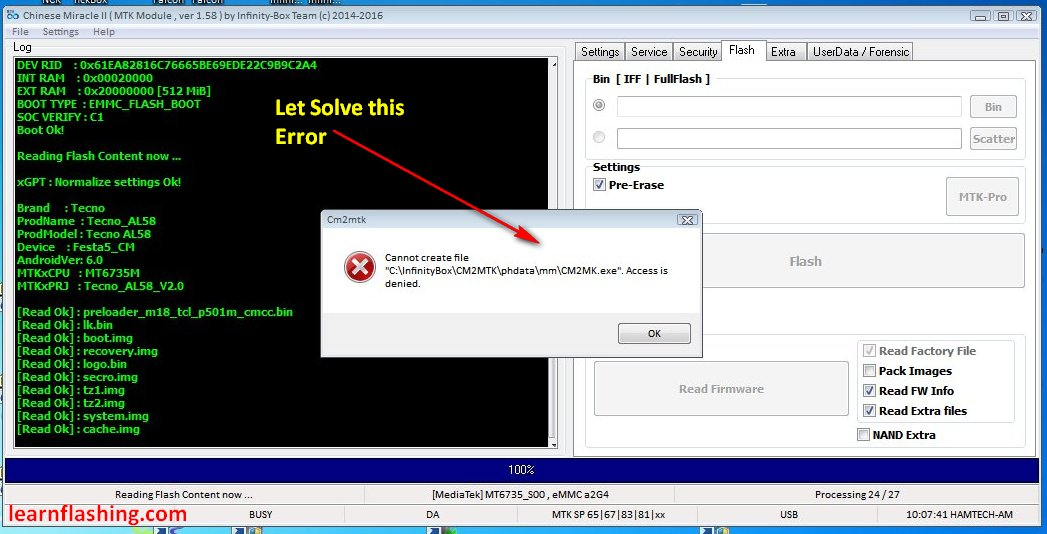 SOLVE [CANNOT CREATE FILE] ERROR WHILE READING FIRMWARE WITH