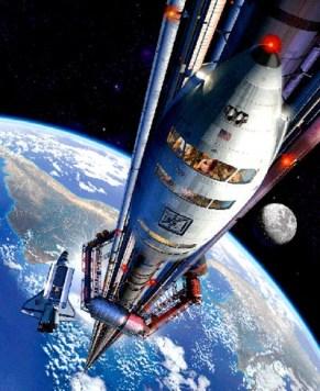 Kereta pemanjat ke luar angkasa.