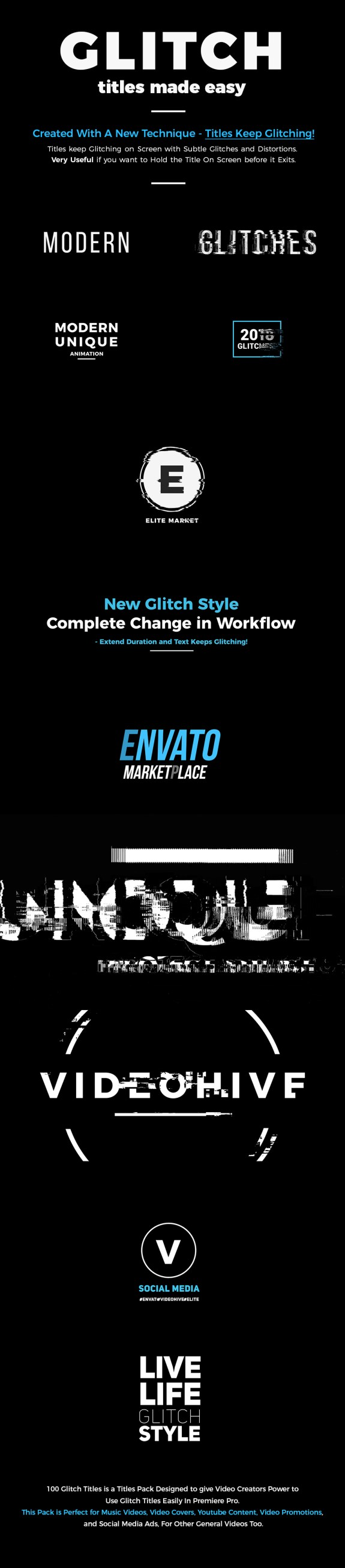 VIDEOHIVE 100 GLITCH TITLES   AFTER EFFECTS VERSION - Adobe After