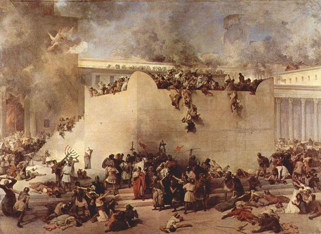 Penghancuran Kuil Yerusalem oleh Romawi, lukisan Fancesco Hayez 1867