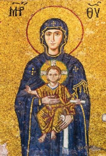 Yesus dan Maria di mosaik Masjid Haghia Sophia Turki