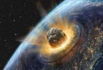 Ilustrasi saat asteroid raksasa menghantam bumi