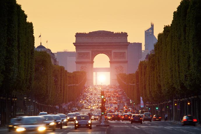 Paris, Arc de Triomphe at sunset