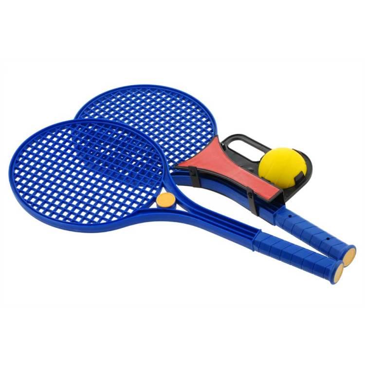 2 plastic tennisrackets met softbal