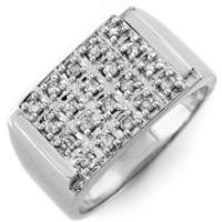 Natural 0.50 ctw Diamond Anniversary Jewelry Men's Ring 10K White Gold - SKU#U34F2- 1337