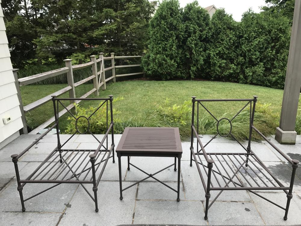 restoration hardware outdoor chairs side table